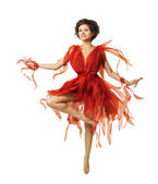 Woman Artist Dancing Red Dress, Modern Ballet Dance, Tiptoe Dancer Girl — Stock Photo