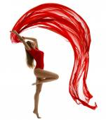 Dancing Woman, Flying Red Cloth on White, Gymnast Girl Dance Wave Fabric — Stock Photo