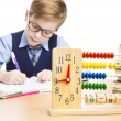 School Child Pupil Education, Clock Abacus, Students Kid  Boy, White — Stock Photo #79034996