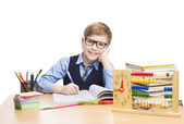School Child Students Education, Pupil Kid Boy Learn Less, White — Stock Photo
