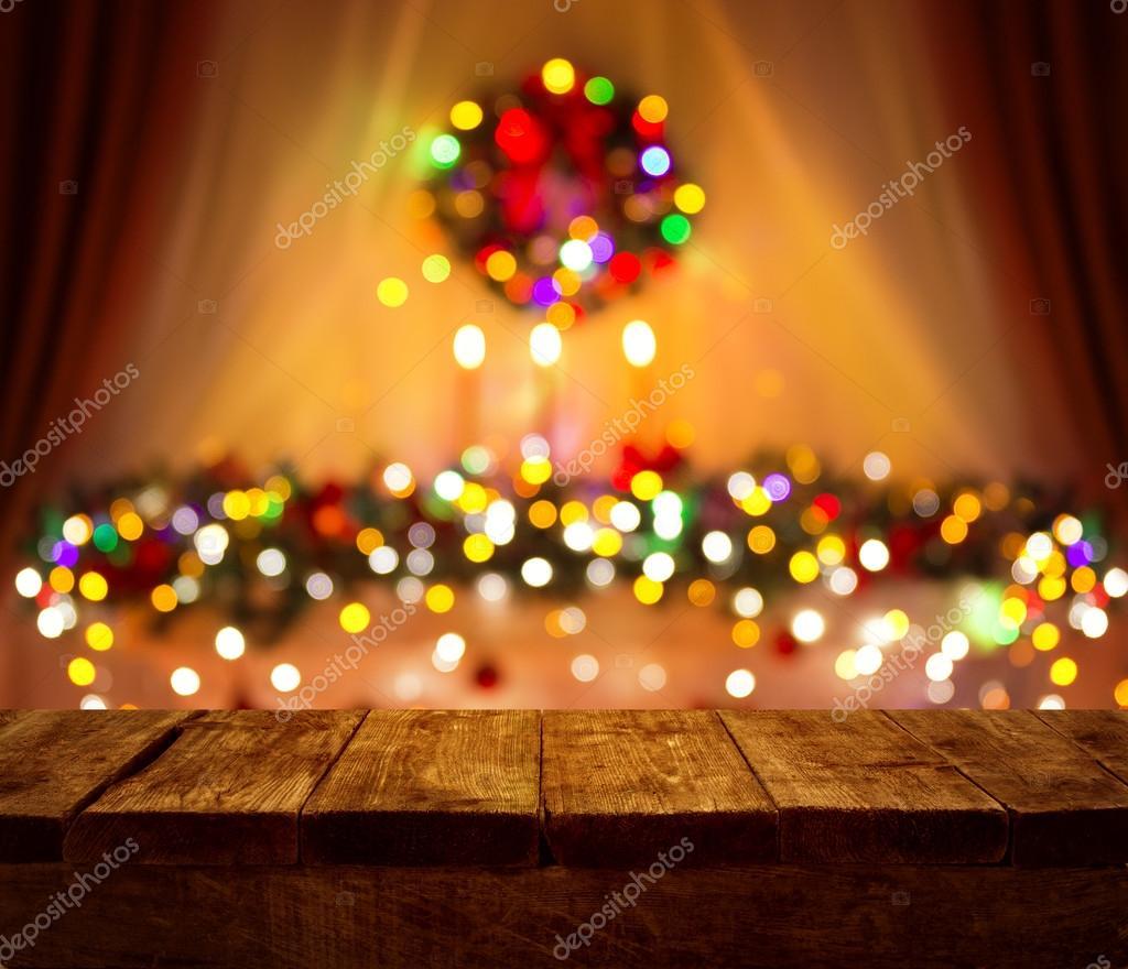 크리스마스 테이블 흐려 빛 나무 책상, 크리스마스 나무 판자 ...
