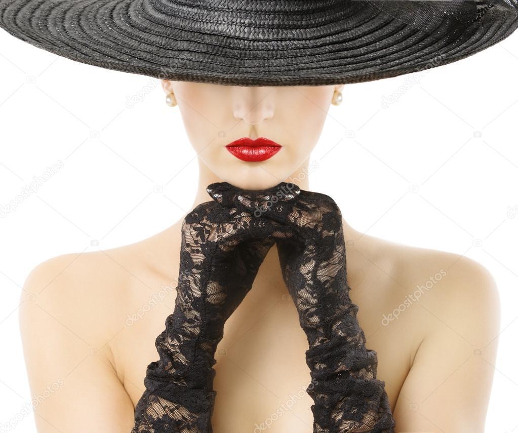 Фото девушек в шляпах с широкими полями черно белые