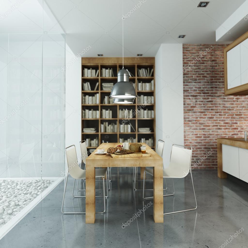 Interni moderni con parete di vetro e cucina open space ? Foto Stock ...