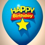 Happy Birthday blue balloon — Stock Photo #65894941