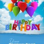 Happy birthday with blue balloons custom — Stock Photo #65895283