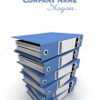 Blue ring binders on a pile — Stock Photo #65895883