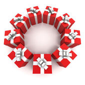Red gift boxes circle — Stock Photo