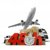 Air transportation in 48 hrs — Stock Photo