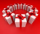 Red and white gift boxes circle lateral — Stock Photo