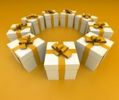 Yellow and white gift boxes circle lateral — Stock Photo