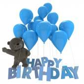 祝你生日快乐熊 — 图库照片