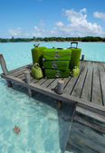 Green luggage at the pier — Foto de Stock