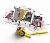 Dettagli tecnici di costruzione casa — Foto Stock