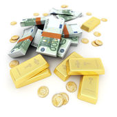 Gold and cash, Euro — Stock Photo