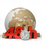 World delivery in 48 Hrs — Stock Photo