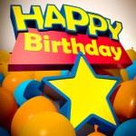 Happy Birthday star balloons vertical — Stock Photo #65901317