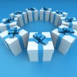 Blue and white gift boxes circle lateral 2 — Stock Photo #65902201