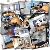 Interni casa collage — Foto Stock