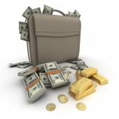 Money US on a briefcase — Stock Photo