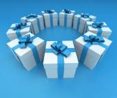Blue and white gift boxes circle lateral 2 — Stock Photo