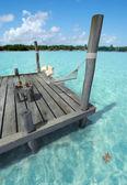 Hammock in tropical jetty — Stock Photo