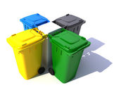 Composition of Garbage bins in colors — Stock Photo