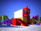 Colorful modern built structure — Stock Photo