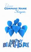 Happy birthday with blue balloons — Stok fotoğraf