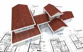 Red gabled house on top of blueprints — Stock Photo