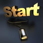Online start in gold — Stock Photo