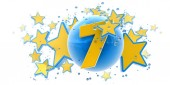 Seventh anniversary blue and yellow — Stock Photo