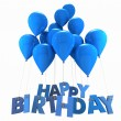Happy birthday with blue balloons — Stock Photo #65911169