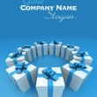 Blue and white gift boxes circle lateral 2 — Stock Photo #65911255
