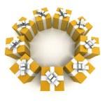 Yellow gift boxes circle 2 — Stock Photo #65913357