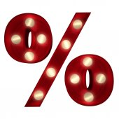 Glowing percentage sign on white — Stock Photo