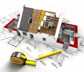 House construction overview — Stock Photo