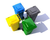 Aerial view of colorful garbage bins — Stock Photo