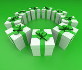 Green and white gift boxes circle lateral  — Stock Photo