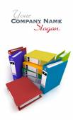 Heap of brightly colored ring binders, — Stock Photo