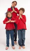 Kids acting saintly — Stock Photo