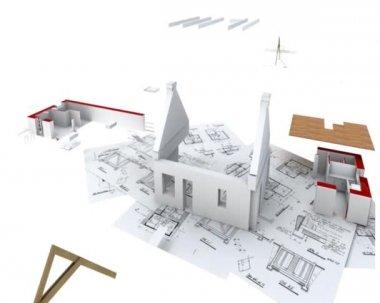 Home construction annimation — Vídeo stock