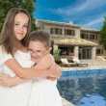 Happy girls in dream house — Stock Photo #66273449