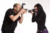 Photographers fooling around — Stock Photo