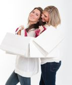 Girls on a shopping expedition — Stock Photo