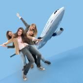 Flying girls — Stock Photo