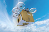 Commercial drone flying in the sky — Stock Photo