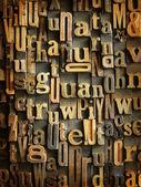 Vintage wooden typescript background — Stock Photo