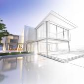 Wireframe mansion — Stock Photo