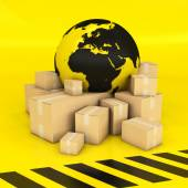 Earth and boxes in black and yellow — Stock Photo