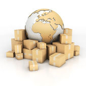 Earth and boxes in cardboard texture — Stock Photo